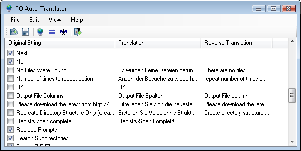 PO Auto-Translator - A free program that reads an existing po/pot file and automatically translates the checked items using the language setting specified in the po/pot via GoogleTranslateAPI.dll