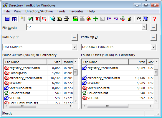 Directory Tookit Screen Shot - A file and archive manager that can compare and synchronize files in two paths, perform file operations, rename files in archives, find duplicate files in two paths, display the actual differences in content between two files, decode encode email attachments, Touch files, display file type information, and much more. The program has automated functions for network managers.