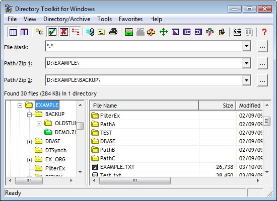 Example of Directory Toolkit  tree display for navigating folders.