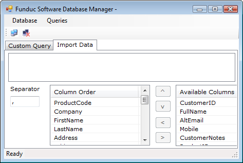FSDBMgr - Open source database manager - Funduc Software - Import Tab